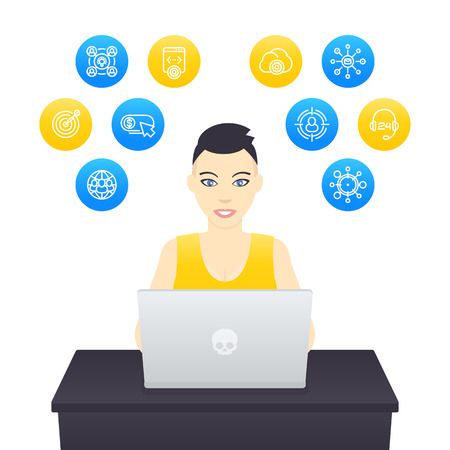 freelancer working with laptop, young cheerful girl with short haircut at work, e-commerce, internet marketing Illustration