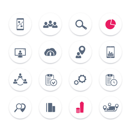 16 business icons set, reports, statistics and indexes