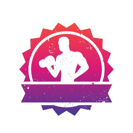 bicep curls: Fitness badge with posing athlete, bodybuilder, gym logo over white Illustration