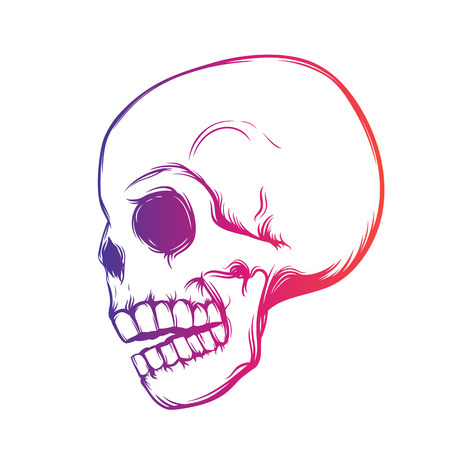 halloween tee shirt: Skull, side view, t-shirt design over white, vector illustration Illustration