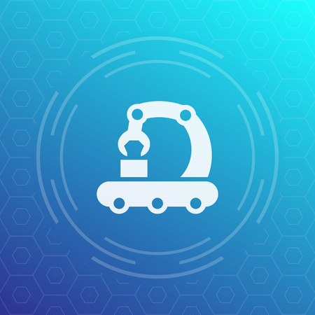 conveyor vector icon in linear style Ilustração