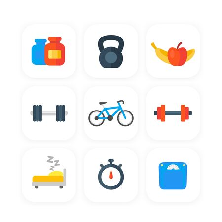 Fitness, gym icons set in flat style