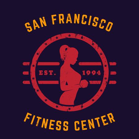 bicep curls: Round vintage emblem, logo, gym t-shirt print with fit exercising girl