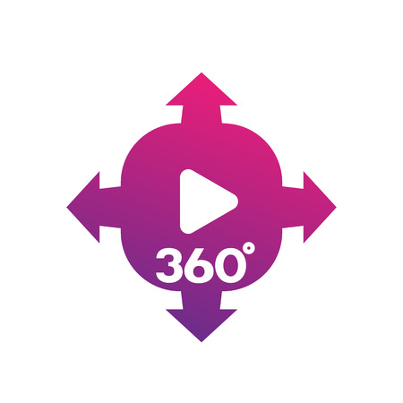 definition high: 360 degrees panoramic video content icon over white Illustration