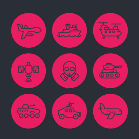 army line icons set, armoured fighting vehicles, drone, aviation, navy, satellite, heavy-lift helicopter