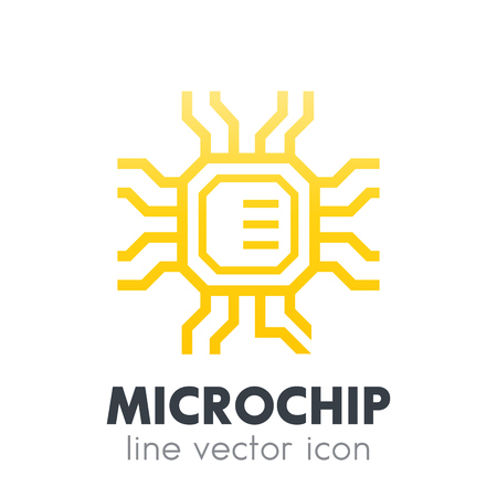chipset, microchip icon on white