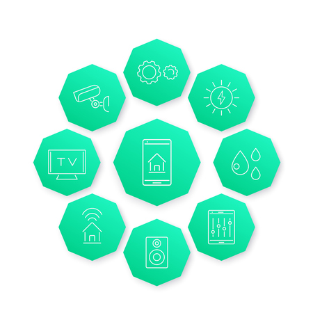 octogonal: Smart House line icon, modern pictograms on green octagon shapes Vectores