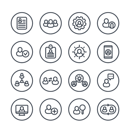 Human resources and management line icons in circles over white, HR, personnel, staff rotation, interaction, coaching, hiring, vacancy, resume
