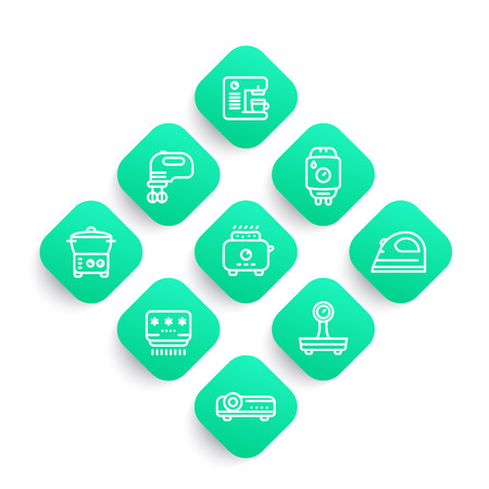 Appliances, consumer electronics line icons set, toaster, coffee machine, blender, steamer, water heater, air conditioner Illustration