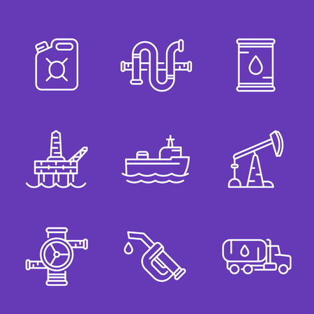 deep drilling: Petroleum industry, oil and gas production icons, linear style Illustration