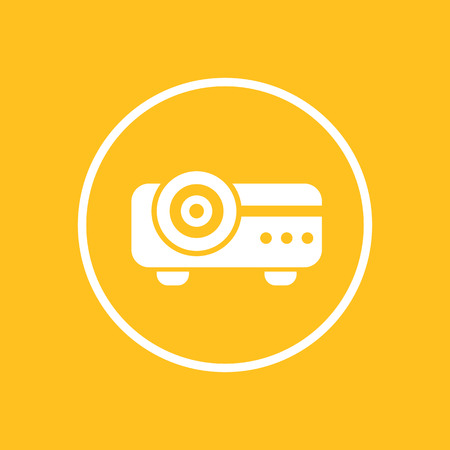 Projector icon in circle, vector illustration