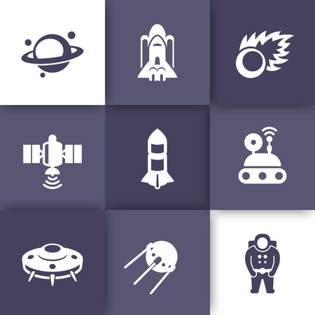 spaceflight: Space icons set, planet with asteroid belt, comet, astronaut, UFO, satellite, space probe, shuttle, rocket