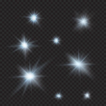 moonshine: flares, sparkles, rays, beams, cold light vector effects