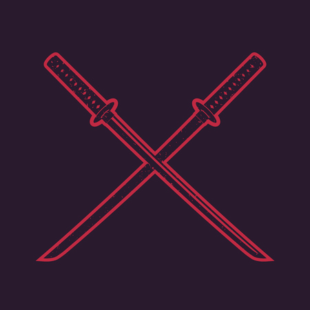 crossed traditional japanese swords, katana, with red outline