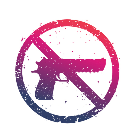 No guns sign with powerful pistol, no firearms print over white