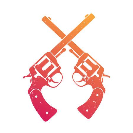 crossed retro revolvers over white, t-shirt print Illustration