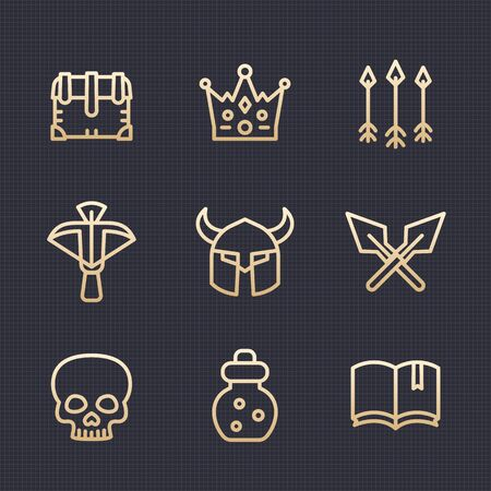 role play: Game line icons set 2, RPG, crossbow, chest, arrows, potion, medieval, dark magic, fantasy items, gold on dark