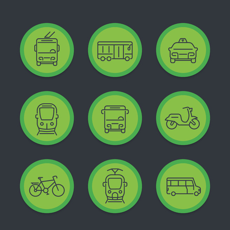 City transport, transit van, cab, bus, taxi, train line icons set, vector illustration