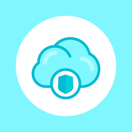 secure cloud icon in flat style, vector illustration Illustration