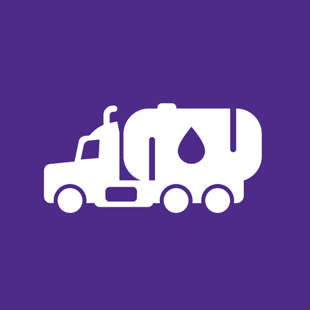 Gasoline tanker icon, truck with petroleum