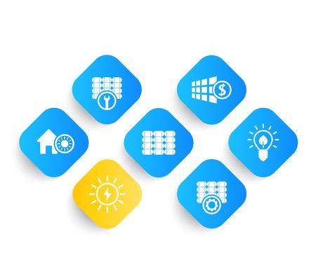 Solar energy, panels, alternative energetics and renewable energy use icons set