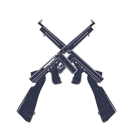 Submachine guns over white, two crossed retro firearms Illustration