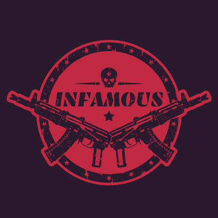 infamous, round print, emblem, badge with automatic guns and skull Illustration