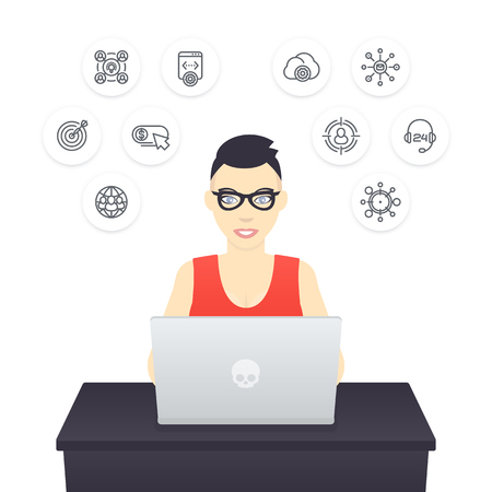 haircut: freelancer working with laptop, young cheerful girl in glasses at work, e-commerce, internet marketing Illustration