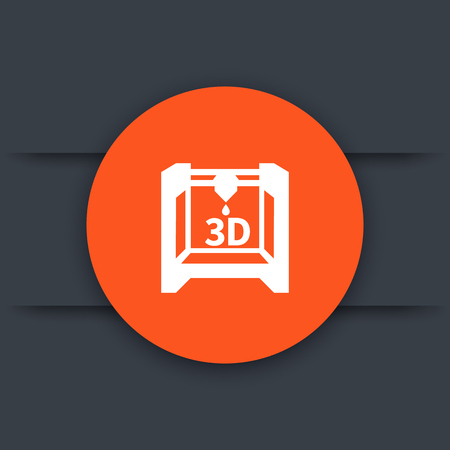 additive manufacturing: 3d printer, additive manufacturing round icon Illustration