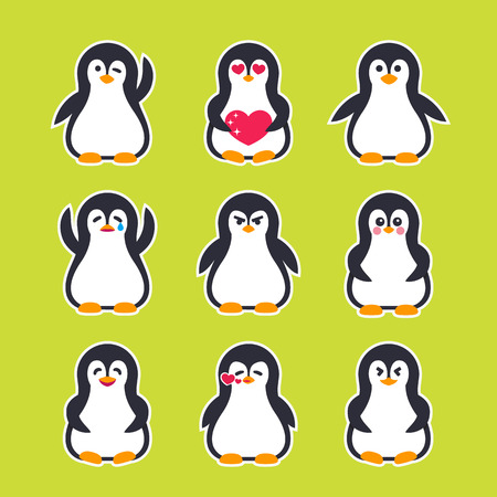emojis vector stickers with pinguin character Illustration