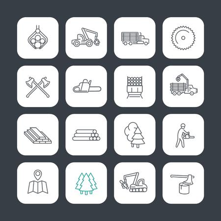 ログ行のアイコンを設定する、木材収穫、ログ ・ トラック、タンクローリー、木こり、製材、製材所