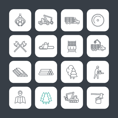 Logging line icons set, timber harvester, logging truck, lorry, lumberjack, lumber, sawmill Ilustracja