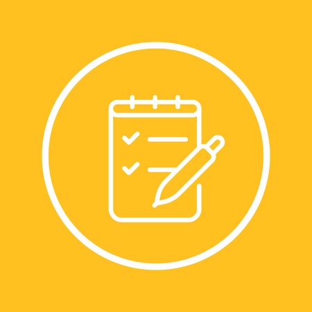 Survey, quiz line icon in circle Illustration