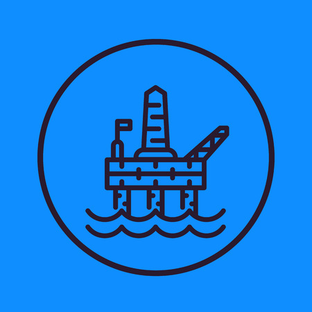 oil and gas drilling platform line icon in circle, vector illustration