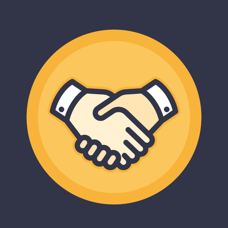 handgrip: handshake icon, deal, partnership, shaking hands, agreement vector pictogram in flat style with outline