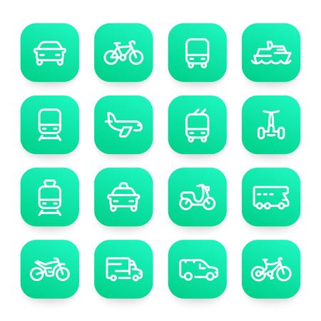 Transport line icons set, ship, train, airplane, bike, car, motorbike, bus, taxi, trolleybus, subway, air and maritime transportation