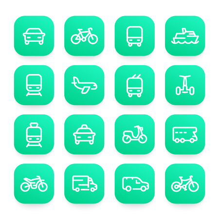 Transport line icons set, ship, train, airplane, bike, car, motorbike, bus, taxi, trolleybus, subway, air and maritime transportation Stock Vector - 77975113