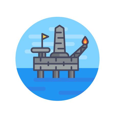 oil drilling platform, offshore rig, flat style illustration