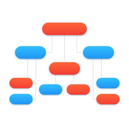 flowchart template, modern design in blue and orange