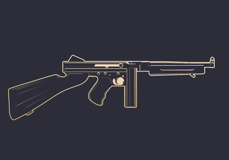 american submachine gun with gold outline