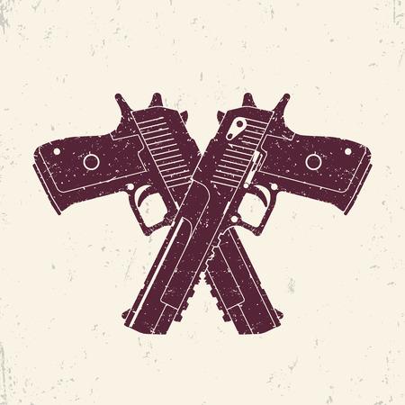crossed powerful pistols, two handguns