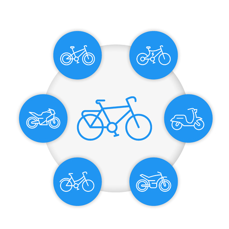 Bikes line icons set, cycling, bicycles, motorcycle, motorbike