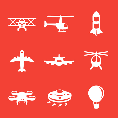 Aircrafts icons, airplane, aviation, air transport, helicopter, drone, biplane, air balloon, alien spaceship