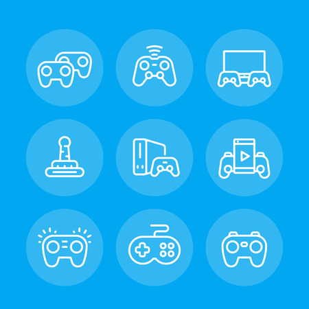 gamepads line icons set, game controllers, console, video gaming, cyber sport vector pictograms