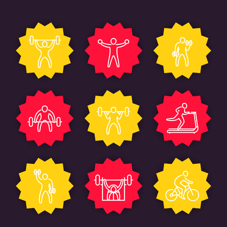 Gym, fitness exercises line icons, training vector badges set