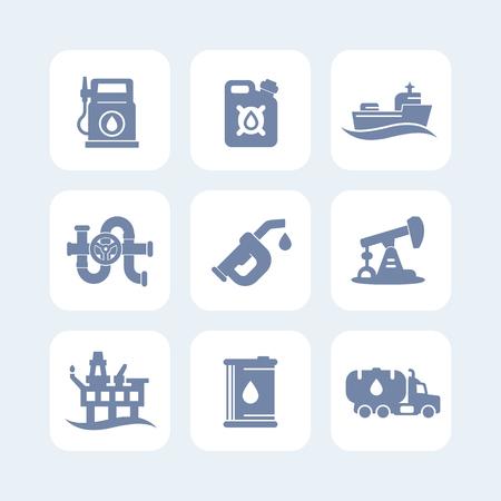 deep drilling: Petroleum industry icons set, gas station, petrol canister, gasoline nozzle, barrel, oil production platform, rig, derrick, tanker ship