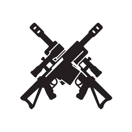 Sniper rifle icon, two crossed guns on white