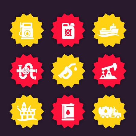 filling station: Petroleum industry icons set, gas station, gasoline, oil production platform, petrol canister, barrel, petroleum pipeline