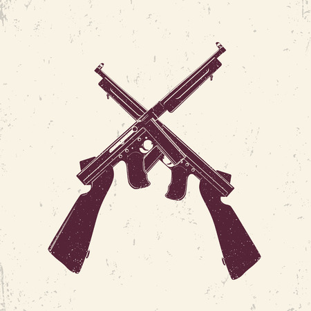 american submachine guns, two crossed firearms