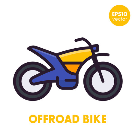 offroad bike, motorcycle icon in flat style with outline